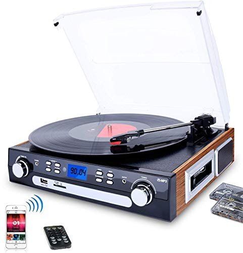 DIGITNOW! Bluetooth Record Player with Stereo Speakers, Turntable for Vinyl to MP3 with Cassette Play, AM/FM Radio, Remote Control, USB/SD Encoding, 3.5mm Music Output - Cd Player Record Crosley