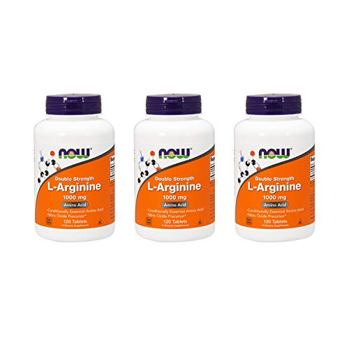 Now Foods L-Arginine 1000mg, 120 Tablets (Pack of 3) (Best Foods For Erectile Strength)