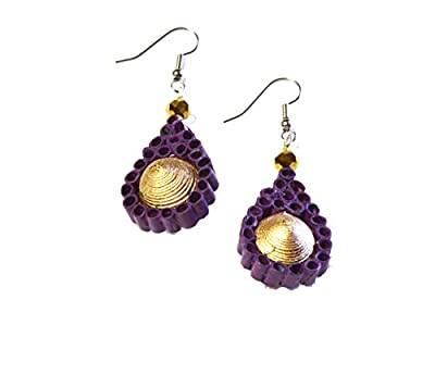 Fair Trade Teardrop Earrings - Handmade From Recycled Newspeper