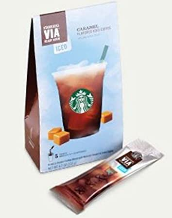 Starbucks Via Ready Brew Iced Caramel Flavored Coffee 2 Pack Boxes 5 Packets Each Box