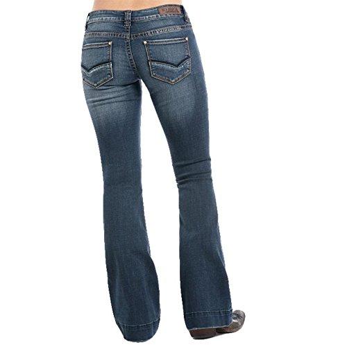 Rock N Roll Cowgirl Womens Cowgirl Dark Vintage Wash Trouser Jean 28x34 Denim