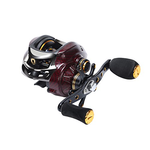Fishdrops Upgrade Baitcasting Reel 17+1 Ball Bearings Left Hand Right Hand Bait Casting Fishing Reels Coil Gear Ratio 6.3:1 Baitcasting Reel (left)