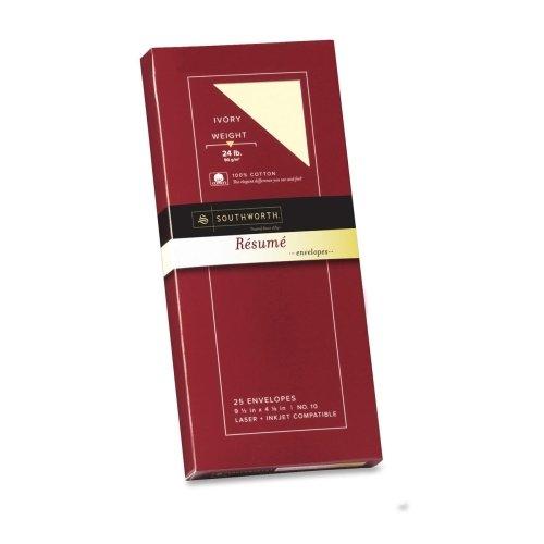 Southworth Connoisseur Collectionreg; 100% Cotton #10 Reacute;sumeacute; Envelopes, Ivory, 24 lb, 25/Box (SOUR14I10) Category: Business (Ivory Business Envelopes)