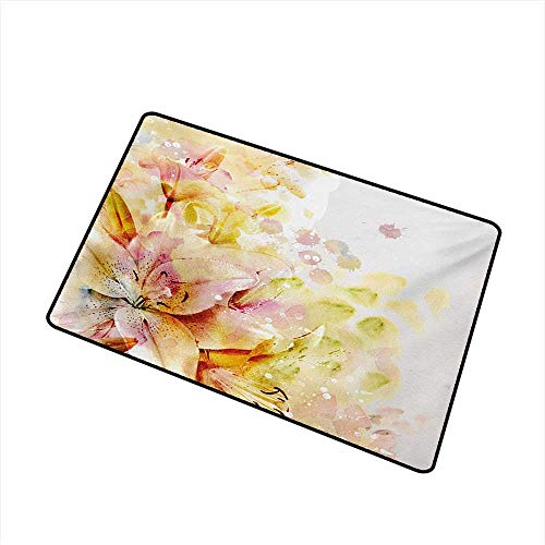 Interesting Doormat Shabby Chic Watercolored Lilies Flowers Buds Leaves Colored Marks Artwork W20 xL31 Personality