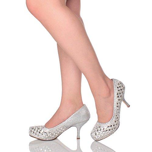 Damen Kleiner Mittel Absatz Versteckte Plateau Arbeit Schuhe Pumps Größe 4 37