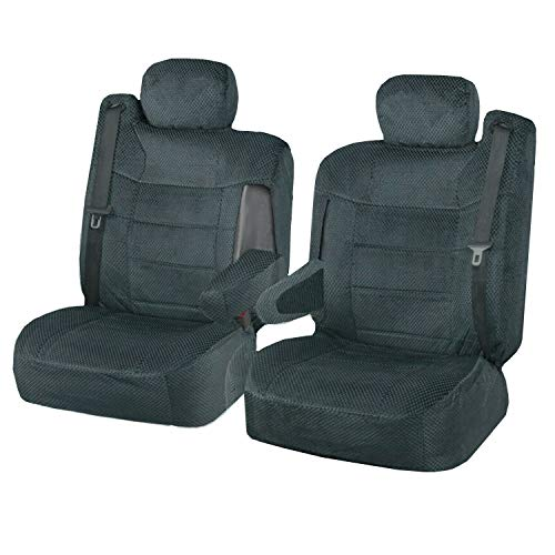 Semi Custom Scottsdale Seat Covers w/Built-in Seat Belt Opening & Arm Rest for 2001-2006 Chevy Silverado,Chevy Tahoe, Chevy Suburban, GMC Yukon and GMC Sierra (Black) (Scottsdale Gray)