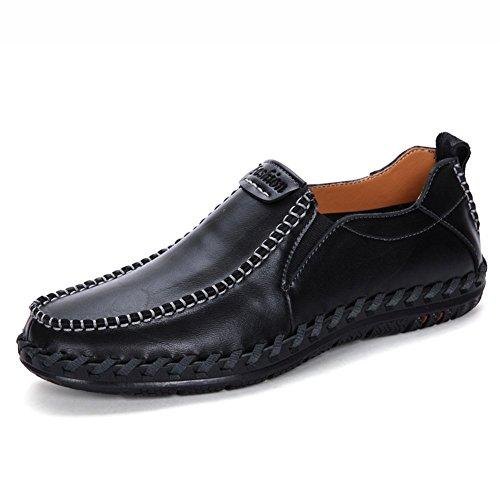 In Leovera Driving Uomini Moda Centesimo Pelle Sul Degli Scivolare Black01 Loafer Barca Shoes Casuale In qq4vaE