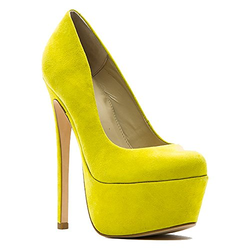 Zigi Girl - Zigi Girl SPYGLASS Womens Suede Leather Platform Pumps in YELLOW SUEDE (7, Yellow)