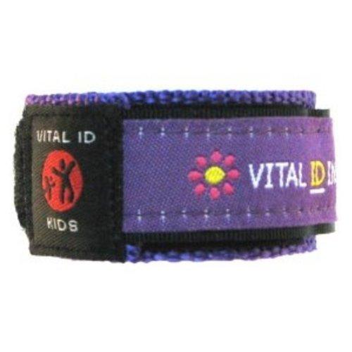 Vital ID Kids Adjustable Medical ID Bracelet - Purple Flowers