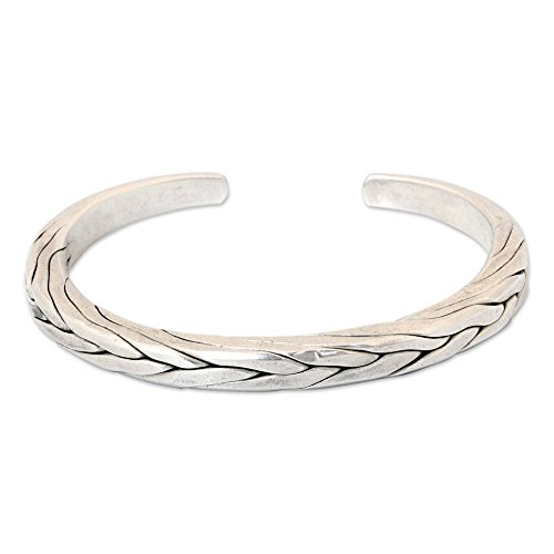 NOVICA .950 Sterling Silver Men's Braided Cuff Bracelet 'Hill Tribe Braid' -