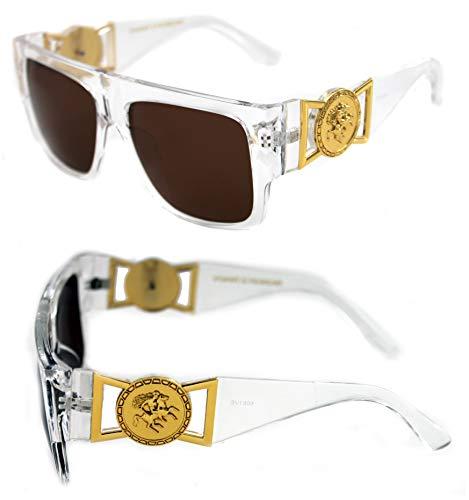416e78d9dfa10 MEN S FLAT TOP GOLD COIN DESIGNER HIP HOP SUNGLASSES VINTAGE 424 RETRO 80 S  90 S (Clear Gold
