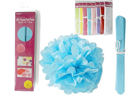 2PC 12''Dia Pom Pom Decorations Pink, Blue, Green, Yellow , Case of 288 by DollarItemDirect