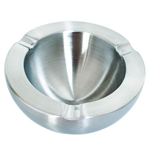 Tircuger Stainless Steel Ashtray Double-Decker Style for Indoor or Outdoor Ashtrays Home Decor (Matting)