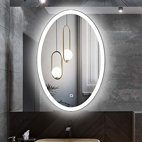 Fumango 20 X30 LED Lighted Bathroom Wall Mounted Vantity Mirror, Anti Fog Brightness Adjustable with Dimmable Memory Touch Switch, Daylight CRI 90, Oval Frameless
