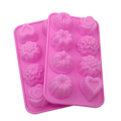 Zicome 8-Cavity Adorable Flower Leaf Silicone Soap Mold Cake Decoration Mold, Set of 2