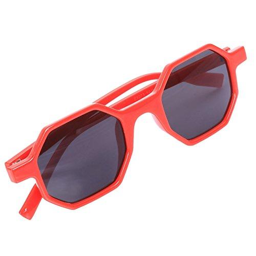 de Mujeres Pequenas Gafas Sol SODIAL Vintage Retro de Sol de Sol lujo Gafas Gafas Sunglass Poligonales Senoras de rojo Negras Bwwfadq