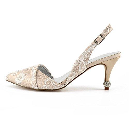 pour Zxstz bout pointu champagne et en à Chaussures bride femmes cheville 5Zq6Z