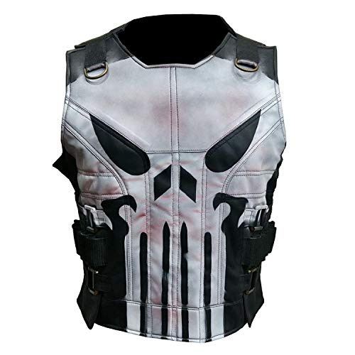 Men's The Punisher Season 2 Jon Bernthal Black Real Leather Vest | Mens Punisher Vest (XXL) -