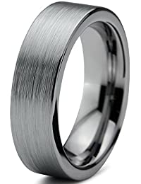Tungsten Wedding Band Ring 6mm for Men Women Comfort Fit Flat Pipe Cut Brushed