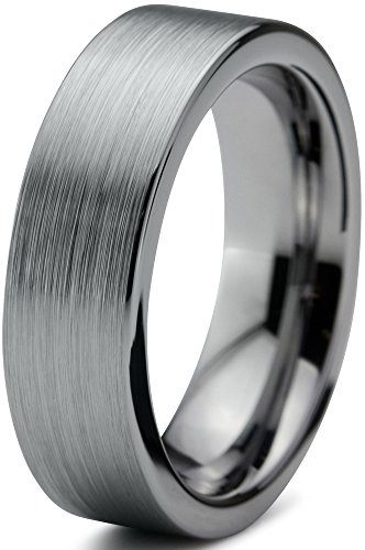 Charming Jewelers Tungsten Wedding Band Ring 6mm for Men Women Comfort Fit Flat Pipe Cut Brushed Size 9.5 -