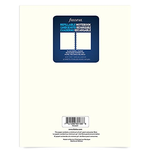 Filofax Letter Size Refill Plain Sheets, 10.875 x 8.5 inches, 64 Ruled Pages (B112451U)