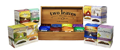 Tea Gift Set | Wooden Chest Organizer | 120 Tea Bags | Organic Tea (Honey Flavored Decaf Coffee)