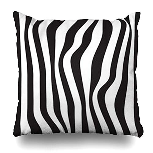 GisRuRu Throw Pillow Covers Vintage Striped Abstract Black White Zebra Skin Pattern Africa Curve Detail Draw Rainbow Home Decor Sofa Pillowcase Square Size 16 x 16 Inches Cushion Cases ()