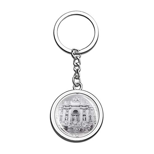 Italy Treasure Pool Sketch Keychain 3D Crystal Spinning Round Stainless Steel Keychains Travel City Souvenirs Key Chain Ring]()