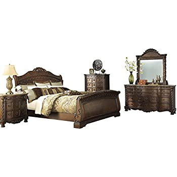 Ashley North Shore 5pc Bedroom Set Cal King Sleigh Bed Dresser Mirror One Nightstand