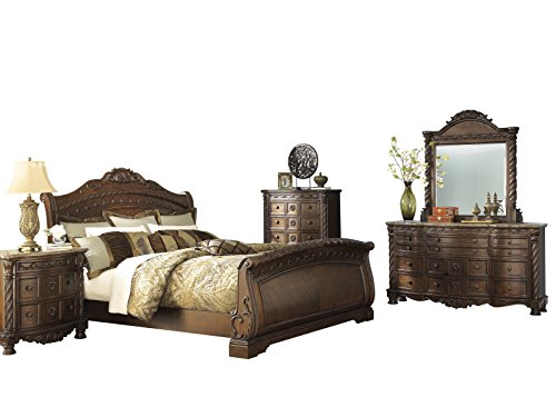 Ashley North Shore 5PC Bedroom Set E King Sleigh Bed Dresser Mirror One Nightstand Chest in Dark Brown