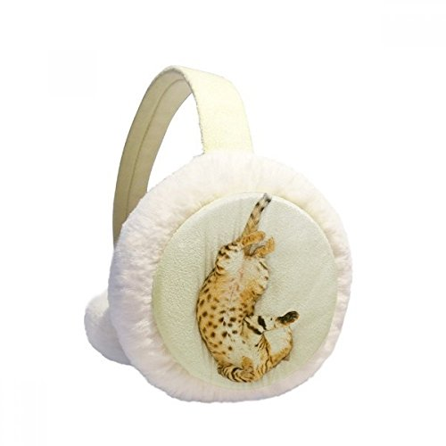Animal Ocelot Cat Photograph Shoot Winter Earmuffs Ear Warmers Faux Fur Foldable Plush Outdoor - Fur Ocelot Faux
