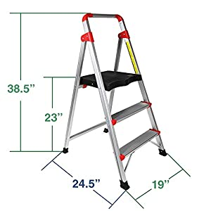 Clevr 3 Step Aluminum Ladder 3ft Non-slip Platform Lightweight Folding Stool, 230 lbs Capacity