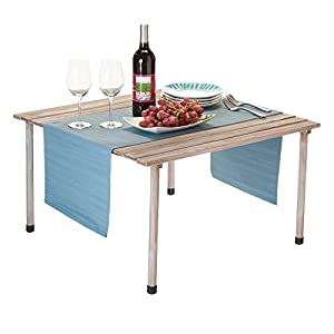 VYTAL Roll-Up Picnic Table (Gray Wash) - Portable table perfect for outdoor events, camping, beach, backyards, BBQ's and parties
