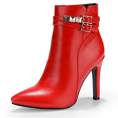 IDIFU Women's Vivian-R Studded Buckle Strap Pointed Toe Ankle Booties Stiletto Heel Side Zipper Short Boots (Red Pu, 5.5 M US)