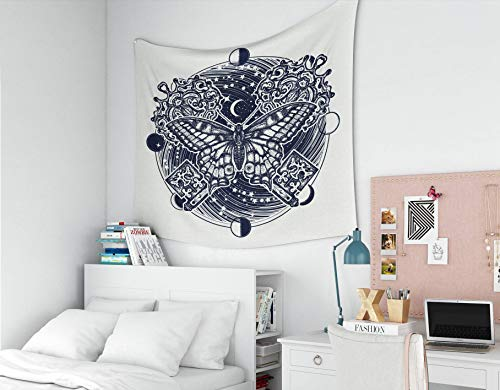 Musesh Wall Tapestry, Polyster Tapestry Wall Hanging for Bedroom Living Room Decor Butterfly Tshirt Design Boho Style Mystical Symbol of Freedom Spiritual Search Flight 60x50 Inches Size