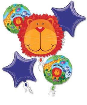 LION Jungle Zoo Animal Roar Birthday PARTY (5) Piece Mylar BALLOONS Kit Set