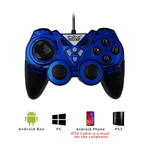PC Game Controller, OUTWIT Wired USB Gaming Controller, Joystick Plug and Play, Gamepad with Dual-Vibration, Turbo and Trigger Buttons for Windows/Laptop/Steam/Android/ PS3/ TV Box