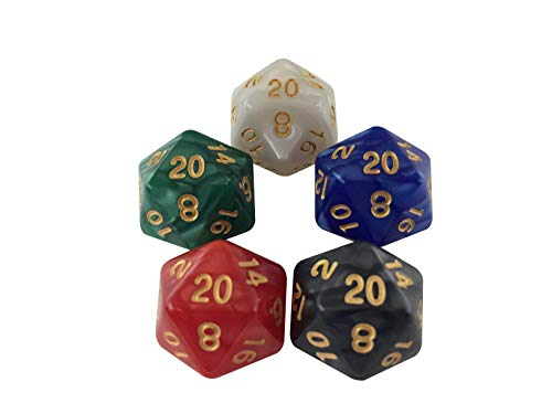 5 Pieces of D20 Life Counters for Card Games CCG MTG Friend Gathering Games Track Creature Stats, Red, White, Blue, Green, and Black Colors by SkullSplitter Dice