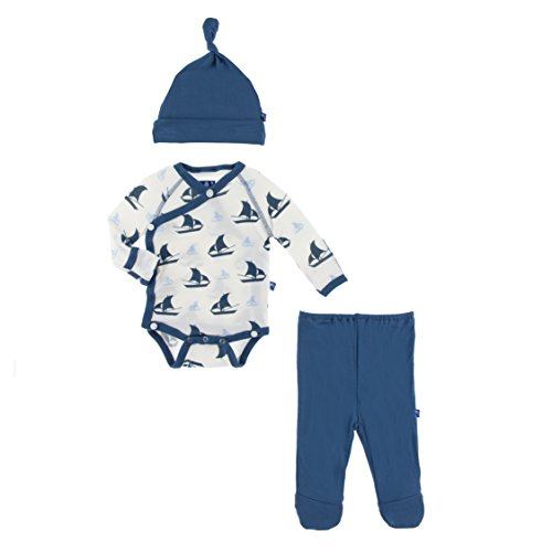 KicKee Pants Little Boys Kimono Newborn Gift Set with Elephant Box - Natural Sailboat, 3-6 Months