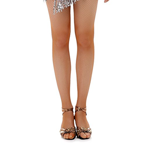 Girl Needlepoint (iMucci Black Tan Professional Women Latin Tights Fishnet Stockings Girl Tights for Samba Tango Dancing Pantynose Brown Collants)