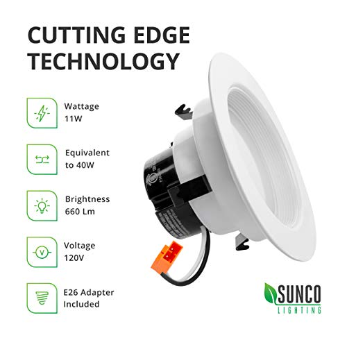 Sunco Lighting 6 Pack 4 Inch LED Recessed Downlight, Baffle Trim, Dimmable, 11W=40W, 3000K Warm White, 660 LM, Damp Rated, Simple Retrofit Installation - UL + Energy Star by Sunco Lighting (Image #6)
