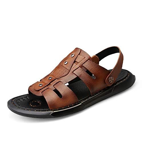 Marron 43 EU ANNFENG Mode été en Plein Air Décontracté Sandales pour Hommes Mode Confort Plage Pantoufle Chaussures Slip on Style PU en Cuir Léger Bout Ouvert (Couleur   Marron, Taille   43 EU)
