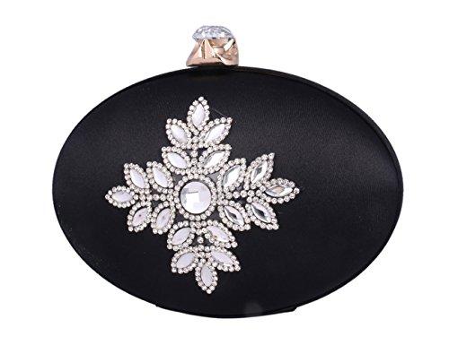 Day Of Saturn Bolso Clutch Elegante Con Adorno Diamante Seda Para Mujer Fiesta,Gris Negro