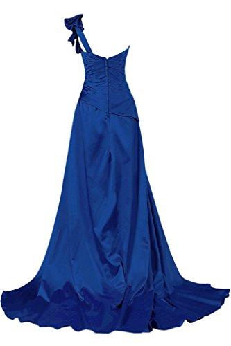 Toscana novia para mujer un-hombro por la noche de fiesta a largo de satén bola Prom vestidos de noche vestidos de moda Azul Real