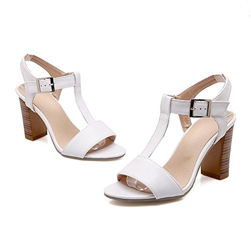 AllhqFashion Womens Open Toe High Heels Buckle Solid Heeled-Sandals White Fe0TEyUfW5