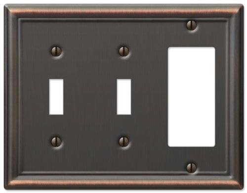 Amerelle Chelsea Double Toggle/Single Rocker-GFCI Steel Wallplate in Aged Bronze (Gfci Double Switchplate)