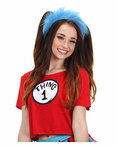elope Women's Dr. Seuss Thing 1 & 2 Crop Top Costume Kit (Large/X-Large) (Cat Woman Costume Ideas)