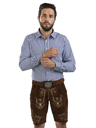 Detailed Leather Belt - Schöneberger Men's Bavarian Lederhosen Brown - Oktoberfest Leather Trousers incl. Trachten Belt Wiesnjäger (38, Medium Brown)