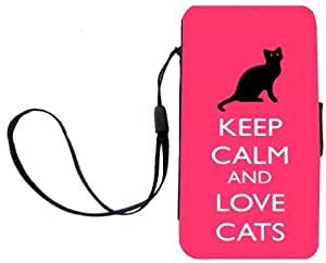Rikki KnightTM Keep Calm and Love Cats Tropical Pink Color Design Galaxy S4 PU Leather Wallet Type Flip Case with Magnetic Flap and Wristlet for Samsung Galaxy S4 i9500 by runtopwell