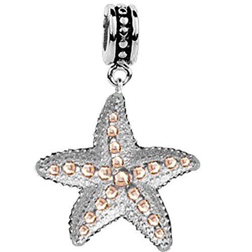 er Starfish Dangle Bead Charm Light Peach Swarovski Crystals, Fits pandora Bracelet ()